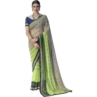 Ashika Shaded Light Grey & Pista Green Georgette Printed Party Wear Saree for Women with Blouse Piece