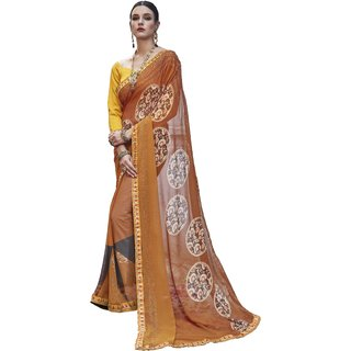 Ashika Light Brown Georgette Printed Party Wear Saree for Women with Blouse Piece