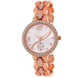 378319f1d women's Full Steel Party Wear Watch Trendy Ladies Wrist Watch (rose Gold)