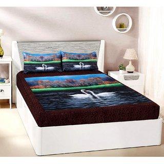 Welhouse India Velvet 1 Double Bedsheet & 2 Pillow Cover