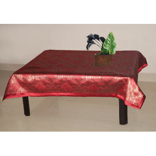 Lushomes Red 2 Selfdesign Jaquard Centre Table Cloth (Size: 36x60 inches), single pc