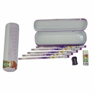 AVMART Steel Purple Princess School Pencil Box with 5 Pencils, Sharpener, Rubber Set for Kids, Stationery Set  Toy