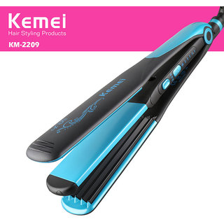 2 in 1 Kemei KM - 2209 Flat Iron Hair Straightener Portable Straight Volume Dual-use Hair Curler Flat Irons Hairdressin
