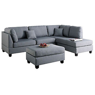 houzzcraft Modern L shaped sofa in grey
