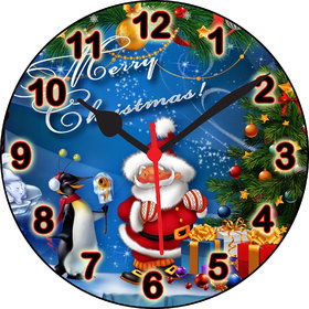 3D Christmas Clock With Santa