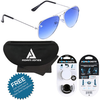 Adam Jones Gradient Blue UV Protected Unisex Aviator Sunglasses with free POP Socket