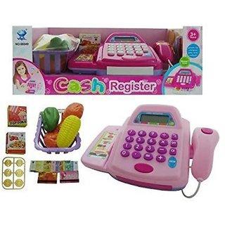 Shribossji Supermarket Cash Register Scanner Play Set Item Shopping Cart Money Coin