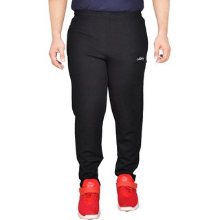 Meddy Sports Track Pant for Men in Black - Solid Pattern Full length Perfect for Fitness Gym Cardio
