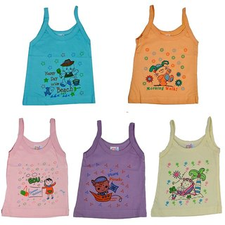 Poddar Fashion Cotton Cut Sleeve/Sleeveless Regular Fit Baby Vest Printed Cotton Camisole Slip/Girls Banyian