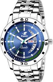 Espoir Blue Round Dial Stainless Steel Strap Analog Watch For Men- SamBluish