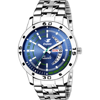 Espoir Blue Round Dial Stainless Steel Strap Analog Watch For Men- SamBluish