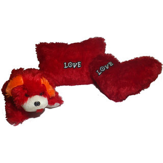 Utkarsh Set of 3 Heart Shape Love Soft Tickle Cushion Pillow Dog Teddy Bear Valentine Love Gift - 35 cm