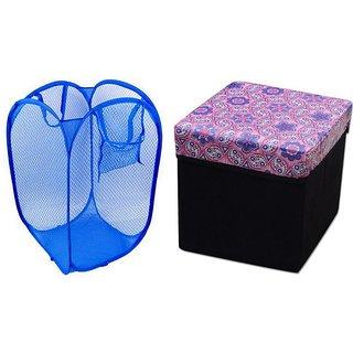 Home Fantasy 1 Storage Stool + 1 Net Laundary Bag (STNT9)