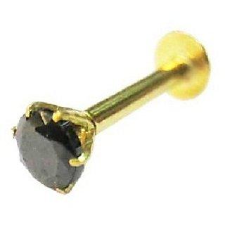 Buy Vinayak Soliteire Cubic Zirconia Gold Nose Stud 3 Mm Black Online Get 6 Off