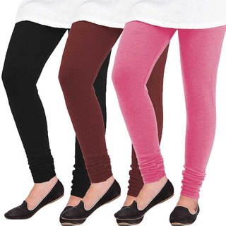 Woolen Leggings for Women, Winter Bottom Wear Combo Pack of 3 Black, Maroon and Pink - Free Size