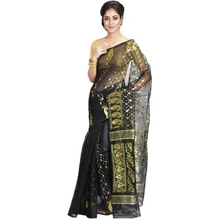 3d052e8d90f2f Buy EXIM INFINITY Womens Dhakai Jamdani Designer Cotton Silk Soft Saree  without Blouse Piece-Black Online - Get 37% Off