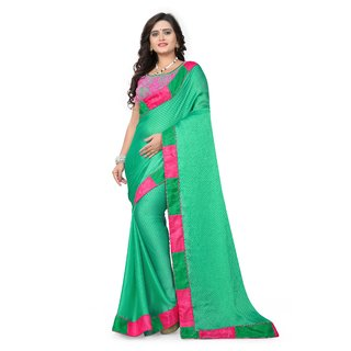 a7d909c2965fc Buy Green Satin Silk plain Border Saree with Designer Net satin ...