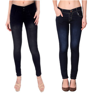 Ketex Women'S Navyblue And Black Slim Jeans (Pack Of 2)