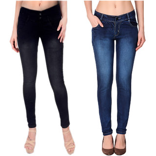 Ketex Women'S Blue And Black Slim Jeans (Pack Of 2)