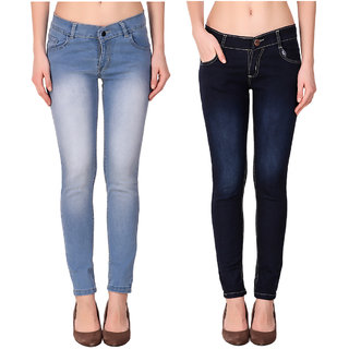Ketex Women'S Light Blue And Navyblue Slim Jeans (Pack Of 2)