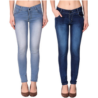 Ketex Women'S Light Blue And Dark Blue Slim Jeans (Pack Of 2)