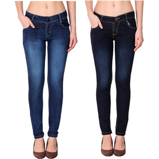 Ketex Women'S Navy Blue And Dark Blue Slim Jeans (Pack Of 2)