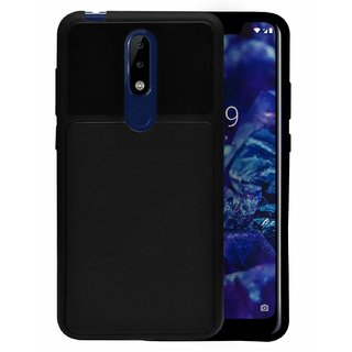 ECellStreet Nokia 5.1 Plus Back Case Cover  Flexible Shockproof TPU  Texture Case - Black
