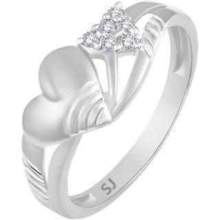 Sukai Jewels Bonded Charm Heart Rhodium Plated Alloy Brass Cubic Zirconia
