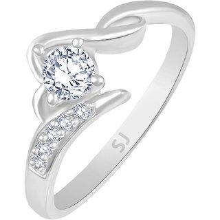 Sukai Jewels Women Silver Single Solitaire Rhodium Plated Cubic Zirconia (CZ) Ring