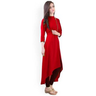 Shree Wow crepe Red Stitched Plain Kurti