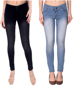 Funky  Women'S Light Blue And Black Slim Jeans (Pack Of 2)