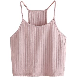 The Blazze Women's Summer Basic Sexy Strappy Sleeveless Racerback Camisole Crop Top