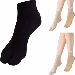 316a2de688a Bullzeye Women s Ankle Length Opaque Thumb Socks (Black and Skin)(Pack of 3)