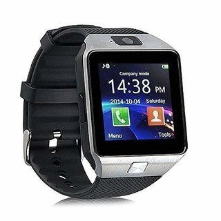 Dz09 Phone with Camera and Sim Card  Sd Card Support Fitness Band Fit Features Compatible with Andriod Devices (Silver)