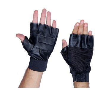 Black Leather Gym Gloves
