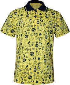 Kothari Boys Polo Neck Collar Kids T-Shirts Half sleeves Printed Cotton Yellow Color(SSB2107)