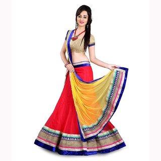 V KARAN Women's Net Lehenga Choli