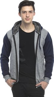 Lambency Men's Grey Hooded Sweatshirts