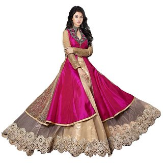 V-Karan Women's Pink Embroidered Georgette Semi- Stitched Dress Material