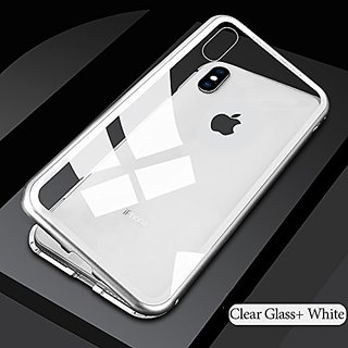 Liberosis Armor Shock Proof Magnetic Metal Bumper Back Case with Tempered Back for iPhone Xr (