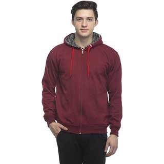 Lambency Men's Maroon Hooded Sweatshirts