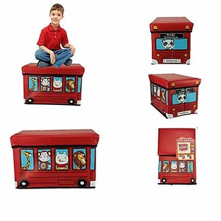 AVMART Foldable  Portable Red Animal Bus 2 in One Storage Box, Laundry Organiser Cum Sitting Stool with Lid Cover Easy