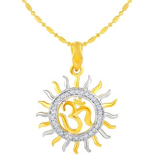 Sukai Jewels Surya OM Gold Plated Alloy  Brass Cubic Zirconia god Pendant with Chain for Women  Men SGP1111G