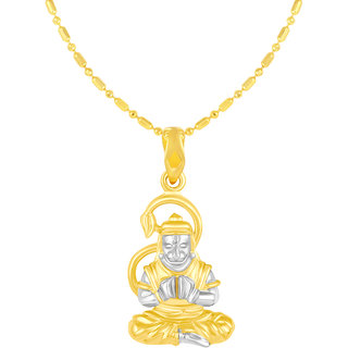 Sukai Jewels Mahabali Hanuman Gold Plated Alloy & Brass Cubic Zirconia god Pendant with Chain for Women & Men [SGP1129G]