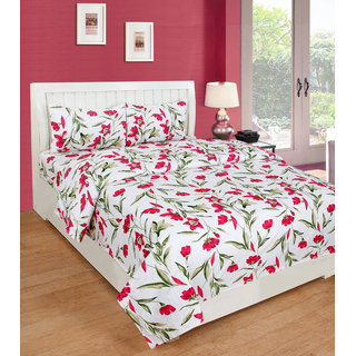 Multicolor Polycotton Double Bedsheet With 2 Pillow Covers by BSB Trendz