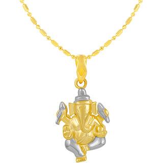 Sukai Jewels Ganpati Gold Plated Alloy & Brass Cubic Zirconia god Pendant with Chain for Women & Men [SGP1135G]