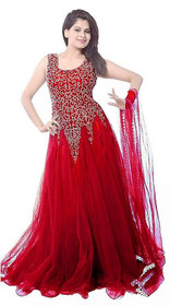 V-Karan Red Net Embroidered Semi Stitched Gown