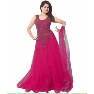 V KARAN Pink Net Embroidered Semi Stitched Gown