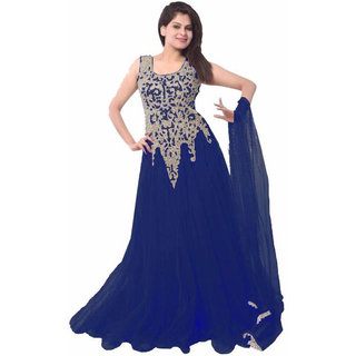 V KARAN Navy Blue Net Embroidered Semi Stitched Gown