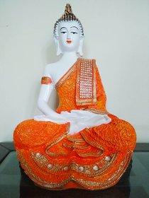 Buddha Idol Sitting Statue Showpiece- Orange and White (17 cm x 11 cm x 27 cm)